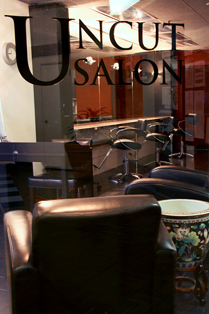Uncut Salon, as seeen from inside Denman Place Mall, Vancouver BC